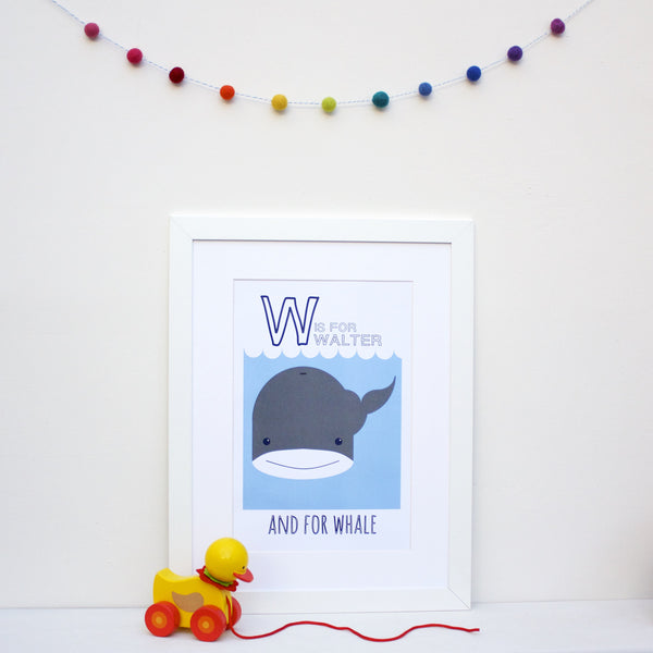 Whale Personalised Alphabet Name Print