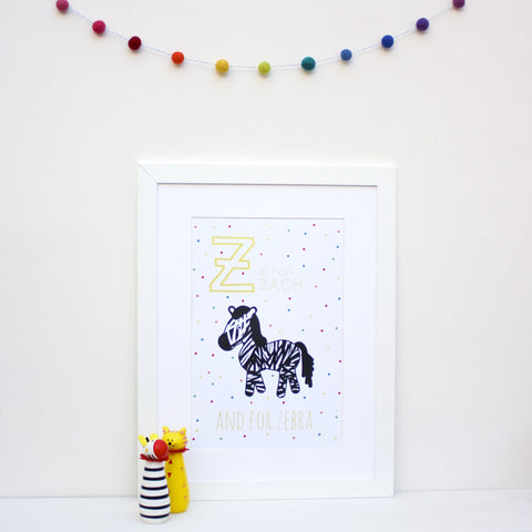 Zebra Personalised Alphabet Name Print