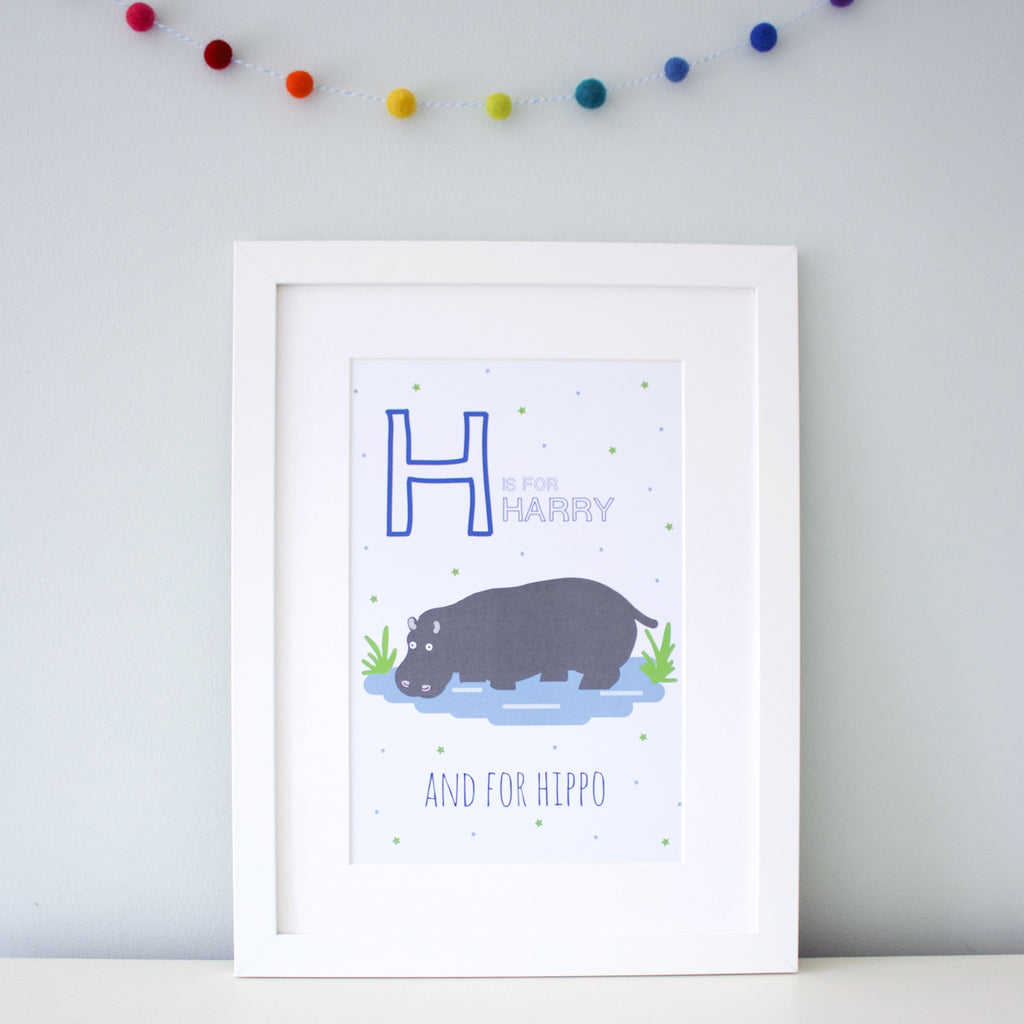 Hippo Personalised Alphabet Name Print