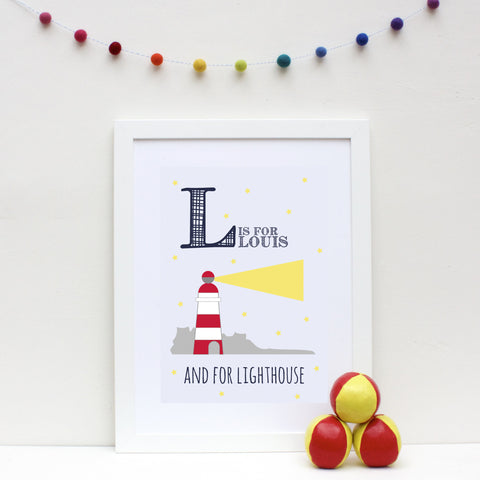 Lighthouse Personalised Alphabet Name Print