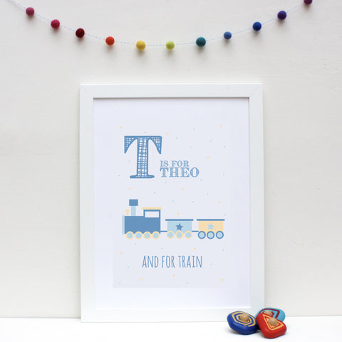 Train Personalised Alphabet Name Print