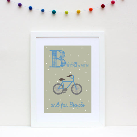 Bicycle Personalised Alphabet Name Print
