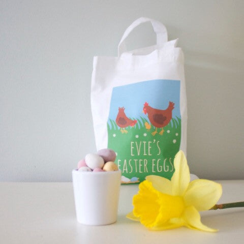 Personalised Mini Tote - Easter Egg Hunt Basket Chickens Spring