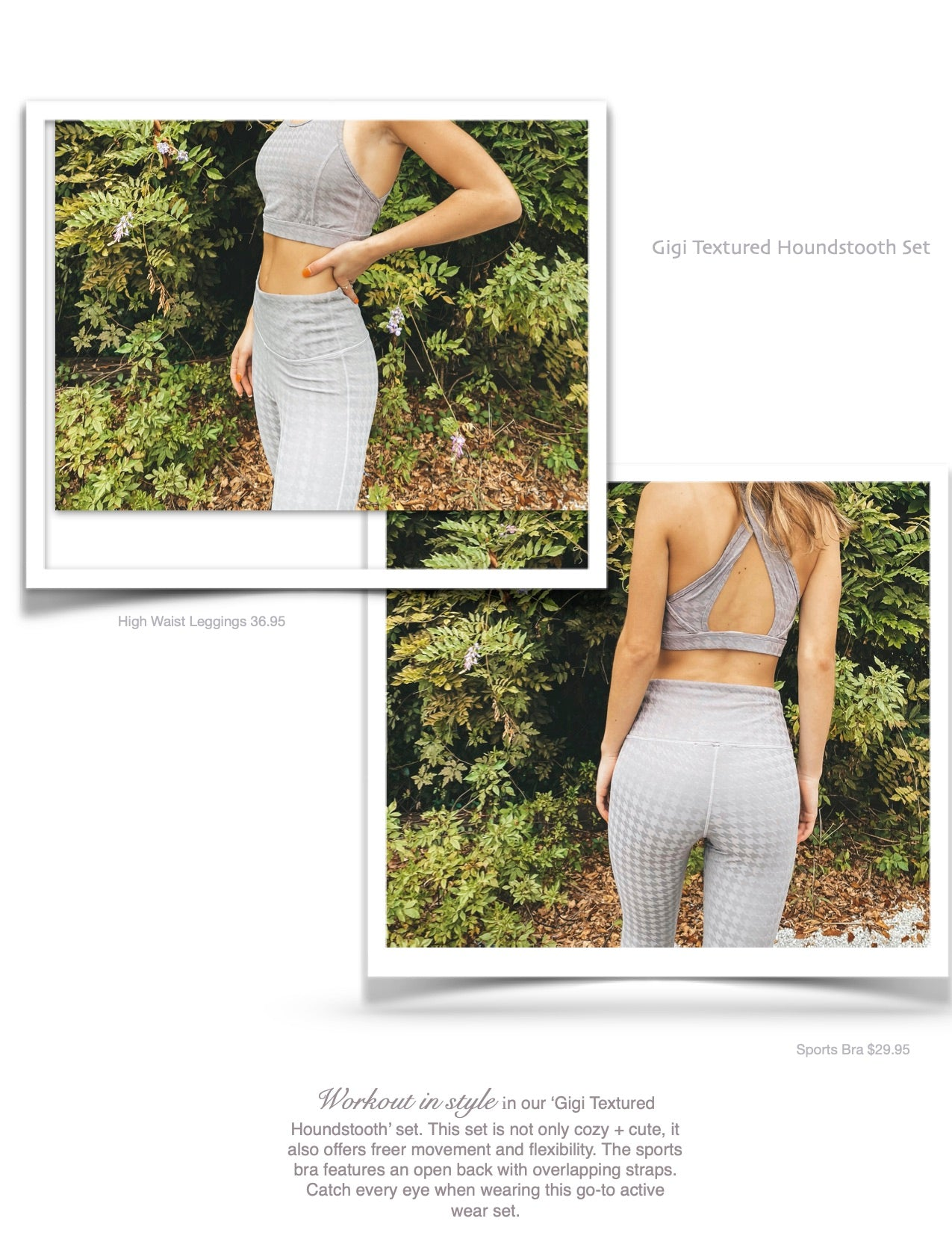 houndstooth active wear women's