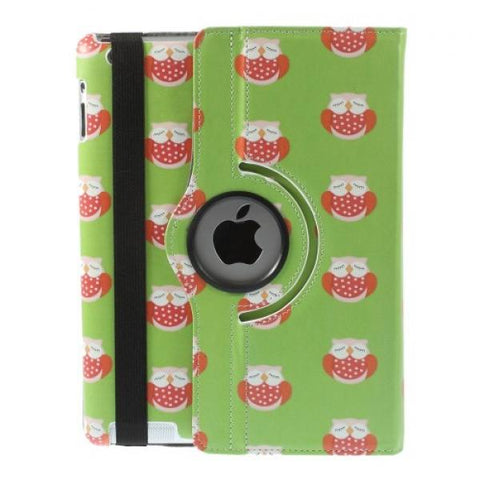 Owl pattern green Funda iPad 2/3/4