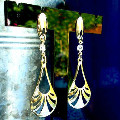 18ct Gold Plated Art Deco Motif Earrings with Strass Stone