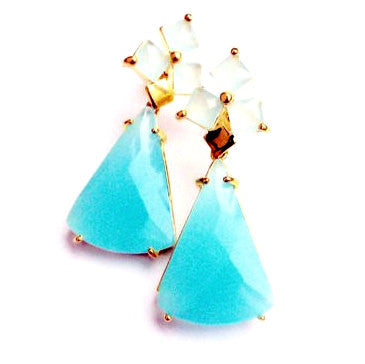 18ct Gold Plated Art Deco Style Earrings with Light Blue Murano Stone