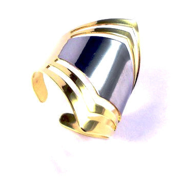 18ct Gold Plated Art Deco Style Ring with Rhodium