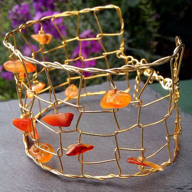 Gold Plated Bangle with Orange Stones