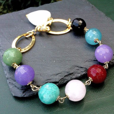 18ct Gold Plated Bracelet with Jade, Aventurine, Onyx and Amazonite