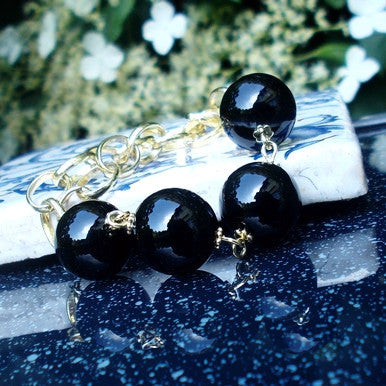 18ct Gold Plated Bracelet with Onyx Gemstones