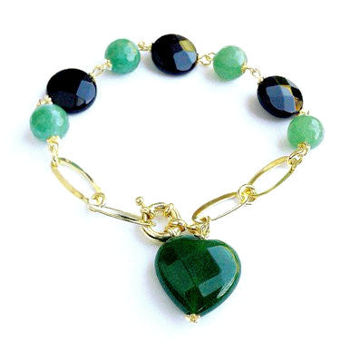 18ct Gold Plated Bracelet with Onyx and Green Jade