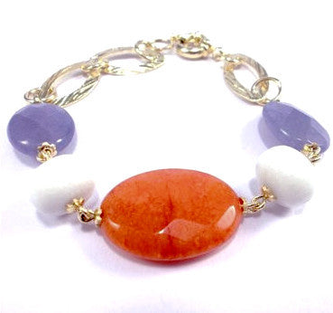 18ct Gold Plated Bracelet with Orange, White and Aquamarine Jade