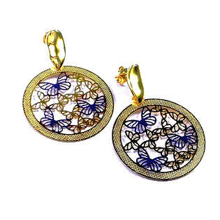 18ct Gold Plated Butterfly Drop Earrings