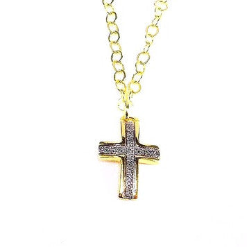 18ct Gold Plated Chain Necklace with Cross Pendant and Rhodium Detail