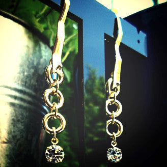 18ct Gold Plated Chain and Zirconia Effect Earrings