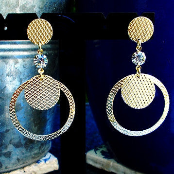 18ct Gold Plated Circular Earrings with Strass Stone