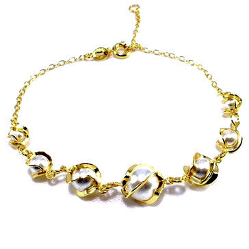 18ct Gold Plated Classic Pearl Effect Bracelet