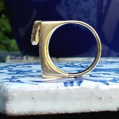 18ct Gold Plated Contemporary Design Ring with Small Zirconias