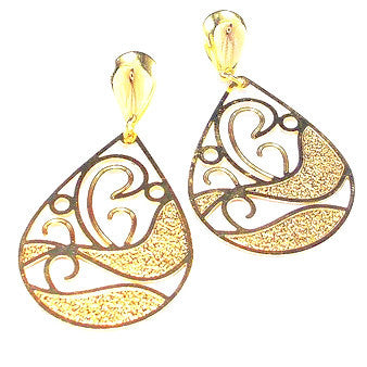 18ct Gold Plated Contemporary Teardrop Design Earings