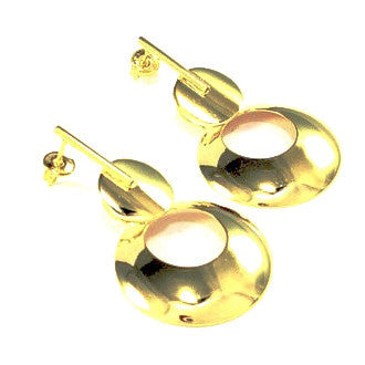 18ct Gold Plated Drop Disc Earrings