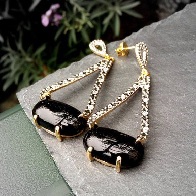 18ct Gold Plated Drop Earrings with Black Agate, Rhodium and Small Zirconias