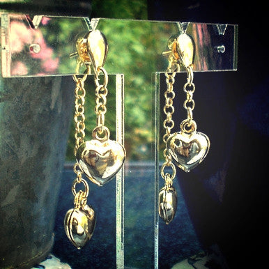 18ct Gold Plated Drop Hearts Earrings