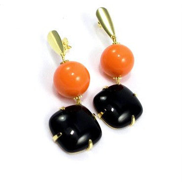 18ct Gold Plated Earings with Orange Coral and Onyx