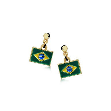 18ct Gold Plated Earrings with Brazilian Flag