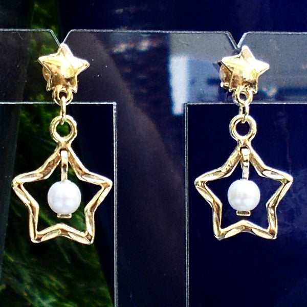18ct Gold Plated Earrings with Five Pointed Star and Pearl Effect