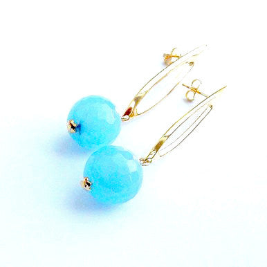 18ct Gold Plated Earrings with Light Blue Jade