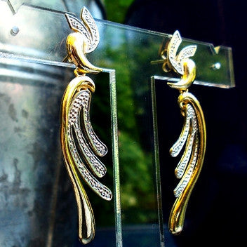 18ct Gold Plated Fancy Bird and Feather Design Earrings with Rhodium Detail