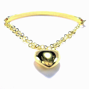 18ct Gold Plated Fancy Bracelet with Heart Charm