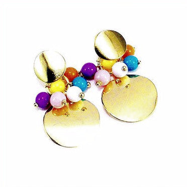 18ct Gold Plated Fancy Disk Earrings with Multi Colour Balls