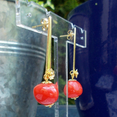 18ct Gold Plated Fancy Earrings with Red Stone Effect