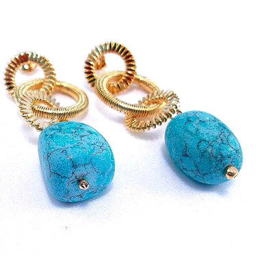 18ct Gold Plated Fancy Earrings with Turquoise