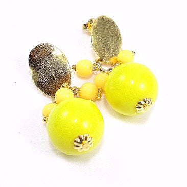 18ct Gold Plated Fancy Earrings with Yellow Acrylic Balls