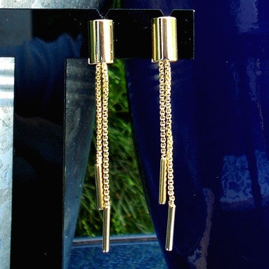 18ct Gold Plated Fancy Half Pipe and Chain Earrings