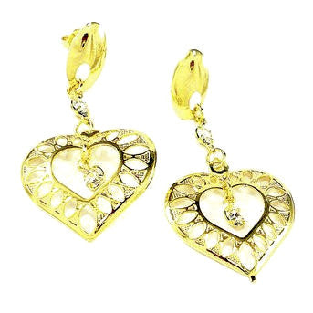 18ct Gold Plated Fancy Heart Earrings with Strass Stones