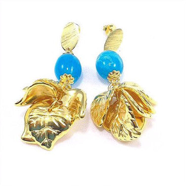 18ct Gold Plated Fancy Leaves Design Earrings with Blue Stone Effect