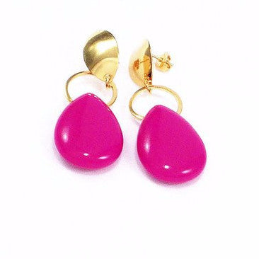 18ct Gold Plated Fancy Stone Effect Teardrop Earrings Pink