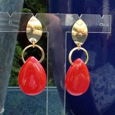 18ct Gold Plated Fancy Stone Effect Teardrop Earrings Red