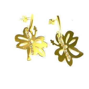 18ct Gold Plated Flower Earrings with Strass Stones