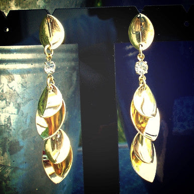 18ct Gold Plated Four Leaf Drop Earrings with Strass Stones