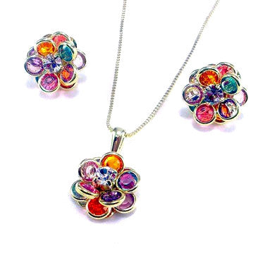 18ct Gold Plated (Green Finish) Set with Multicoloured Flower Designs