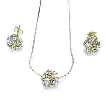 18ct Gold Plated (Green Finish) Set with Strass Stones