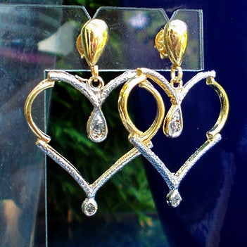 18ct Gold Plated Heart Earrings with Rhodium and Strass