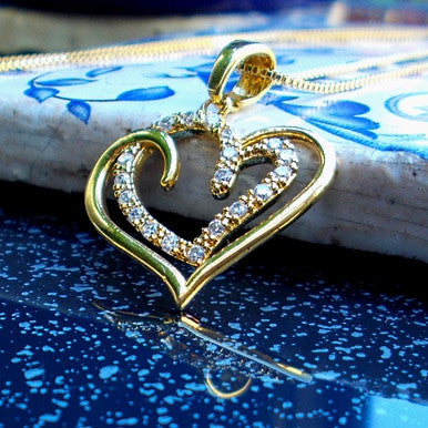 18ct Gold Plated Heart Pendant with Zirconia and Chain
