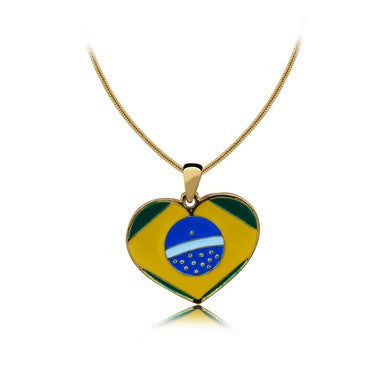18ct Gold Plated Heart Shaped Pendant with Brazilian Flag and Chain