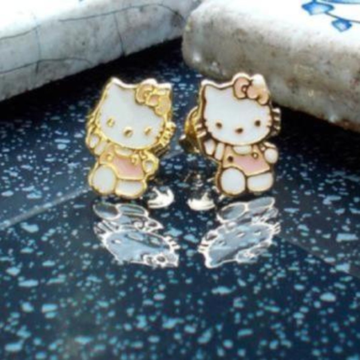 18ct Gold Plated 'Hello Kitty' Stud Earrings